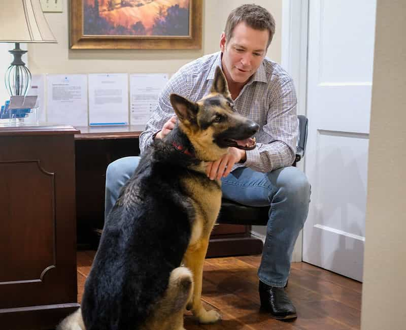 Attorney Kevin Connolly with dog
